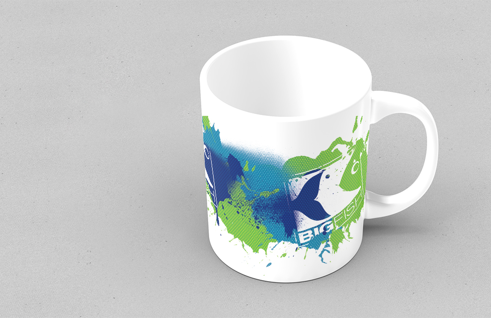 Tasse, Merchandise im neuen Corporate Design nach Relaunch Bigfish Erkner