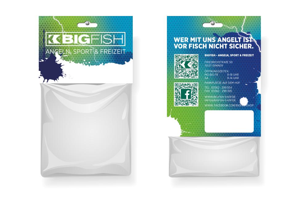 Verpackungen im neuen Look nach Corporate Design Relaunch des BIGFISH Shops in Erkner