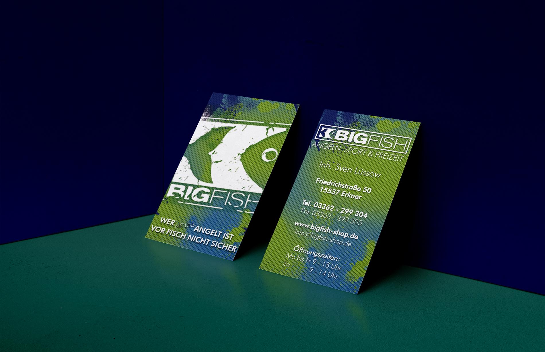 Design neuer Visitenkarten für Bigfish aus Erkner - Print Design - Werbung aus Erkner
